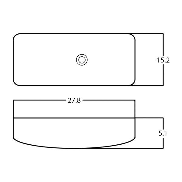 American Imaginations Vessel Rectangular Sink - 27.8-in - White