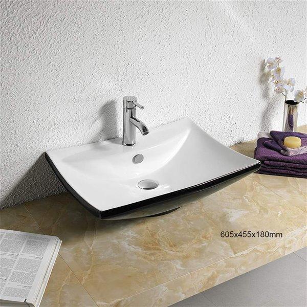 Vasque de American Imaginations, 23,8 po, noir/blanc