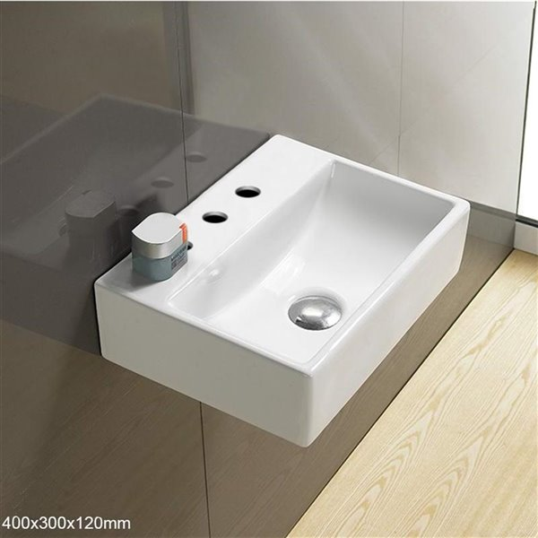 American Imaginations Wall-Mount Rectangular Sink -15.7-in - White