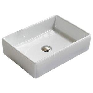 American Imaginations Vessel Rectangular Sink - 18.5-in - White