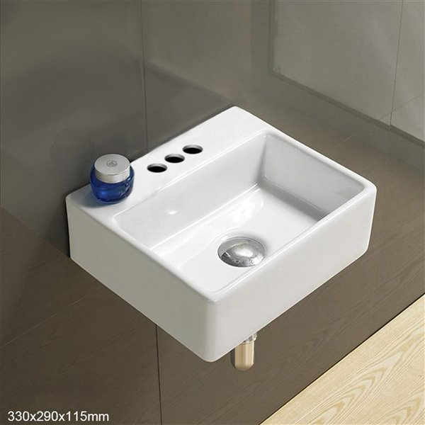 American Imaginations Wall-Mount Rectangular Sink - 13-in - White