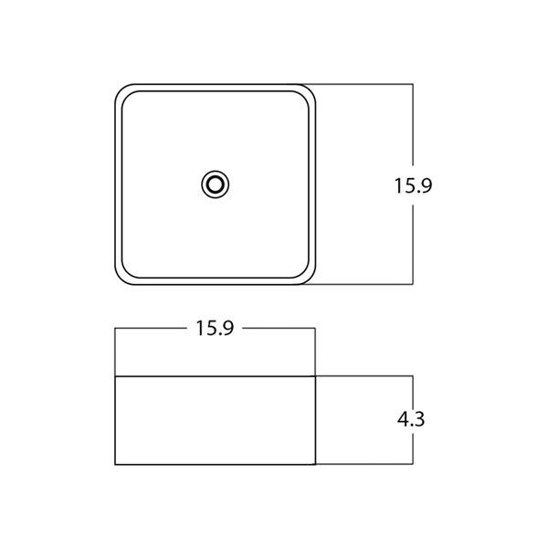 Vasque carré de American Imaginations, 15,9 po, blanc