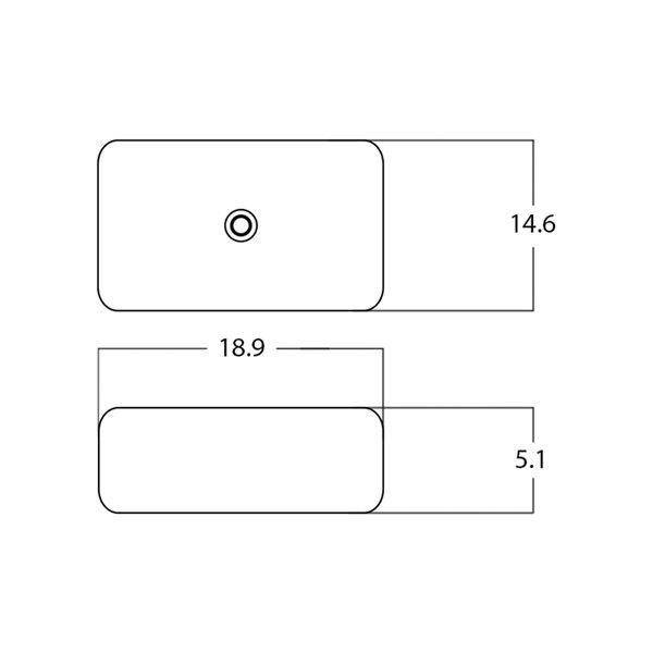 Lavabo rectangulaire de American Imaginations, 18,9 po, blanc