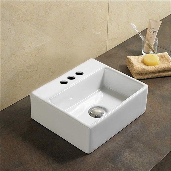 Vasque rectangulaire de American Imaginations, 13 po, blanc
