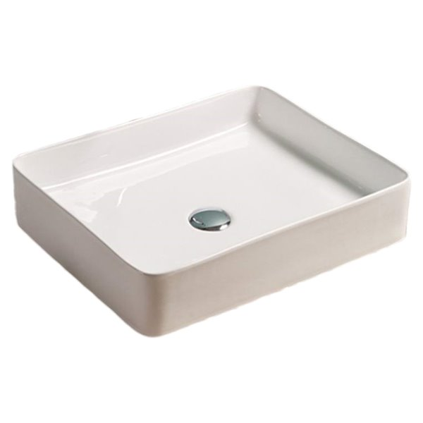 American Imaginations Rectangular Bathroom Sink - 19.9-in - White