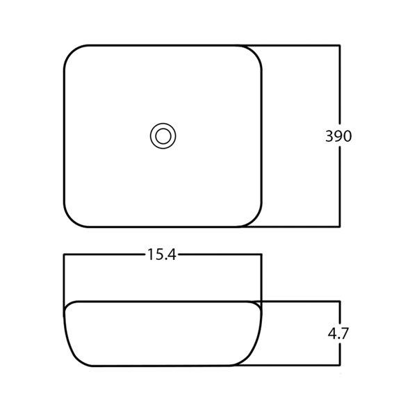 American Imaginations Vessel Square Sink - 15.4-in - White