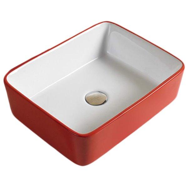 Vasque de American Imaginations,18,9 po, rouge/blanc