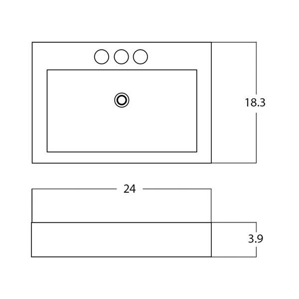American Imaginations Rectangular Vessel Sink - 24-in - White