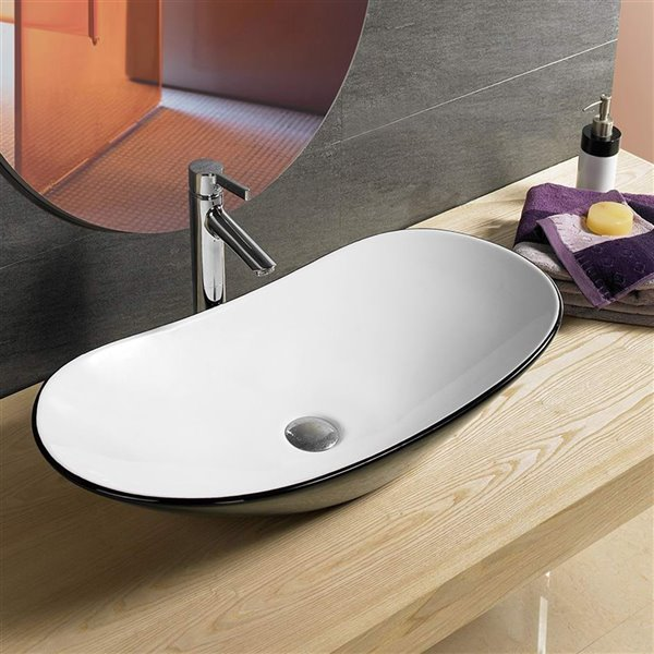 American Imaginations Vessal Sink - 28.5-in - Black/White