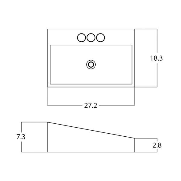 Lavabo rectangulaire de American Imaginations, 27,2 po, blanc