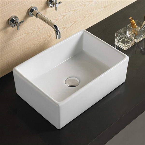 American Imaginations Rectangular Vessel Sink - 18.1-in - White