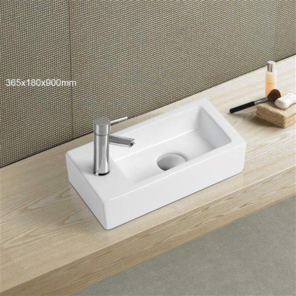 Vasque de American Imaginations, 14,5 po, blanc