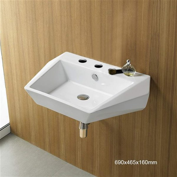 American Imaginations Wall-Mount Bathroom Sink - 27.2-in - White