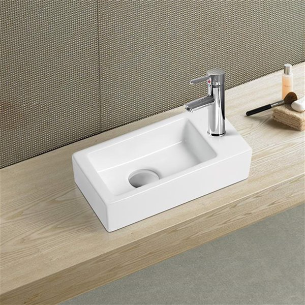 American Imaginations Vessel Rectangular Sink - 14.5-in - White
