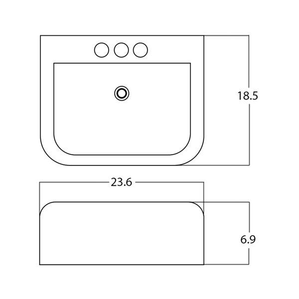 Lavabo rectangulaire de American Imaginations, 23,6 po, blanc