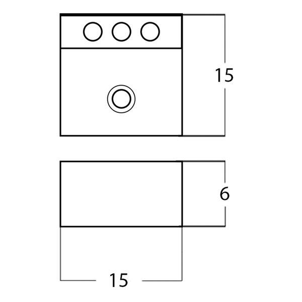 Lavabo carré de American Imaginations, 15 po, blanc