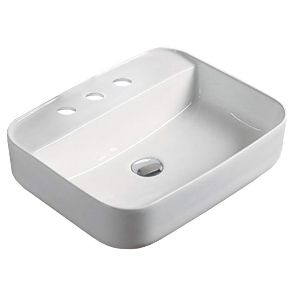 American Imaginations Vessel Rectangular Sink - 20-in - White