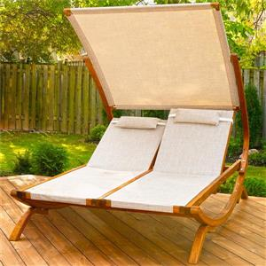 Leisure Season Double Reclining Lounge Chair with Canopy - Beige