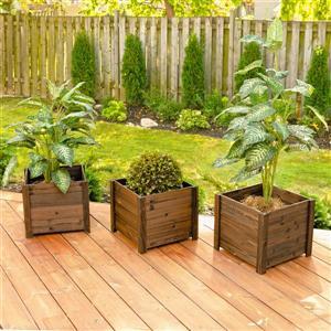 Leisure Season Large Square Wooden Planters - Medium Brown - Set of 3