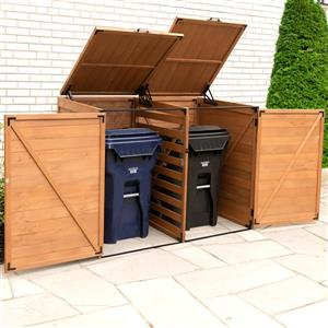 Leisure Season Horizontal Trash and Recycling Storage Shed - Medium