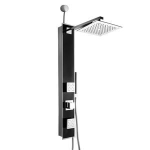 Panneau de douche Easy Connect d'AKDY, verre trempé, noir, 35 po