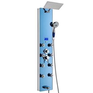 Panneau de douche multifonction d'AKDY, verre trempé, bleu, 52 po
