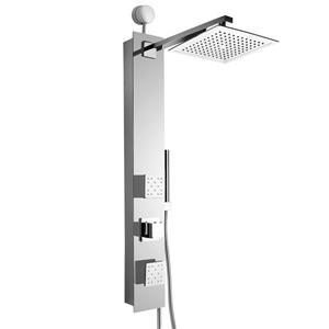 Panneau de douche Easy Connect d'AKDY, verre trempé, argenté, 35 po