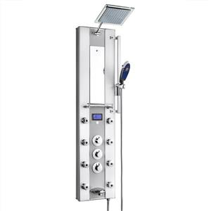 AKDY Thermostatic Control Shower Panel System - Aluminum - Silver - 51-in