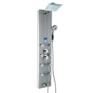 Panneau de douche multifonction d'AKDY, verre trempé, girs, 52 po