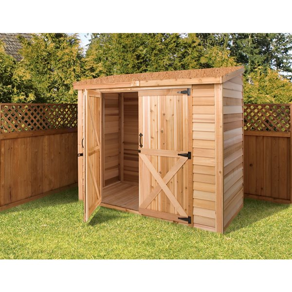 Cedarshed Bayside Double Door Storage Shed - 8 ft x 3 ft - Brown