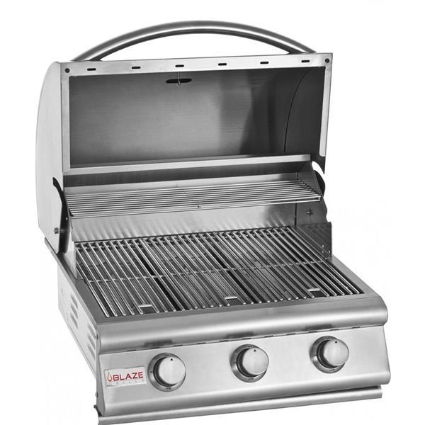 Barbecue au gaz naturel encastré Blaze de 25 po à 3 brûleurs, 42,000 BTU, inox