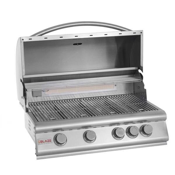 Barbecue au gaz propane intégré à 4 brûleurs Blaze, 56,000 BTU, acier inoxydable