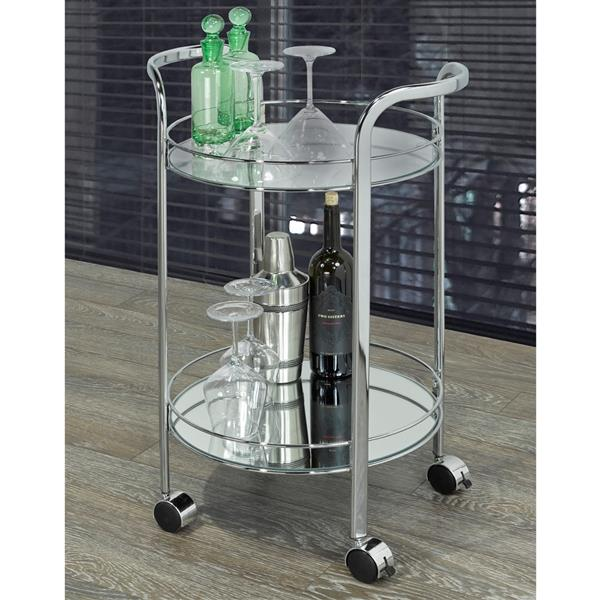 WHI 2 Tier Round Bar Cart - Chrome