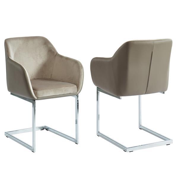 Ensemble de deux chaise velours/simili-suède !nspire, taupe