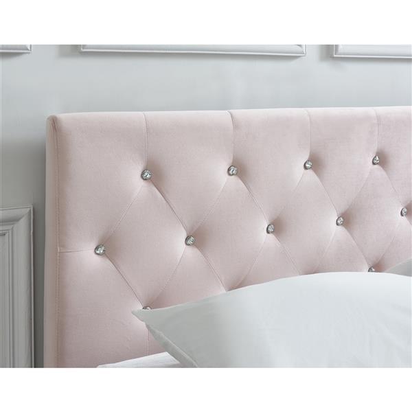 Lit plateforme en velours !nspire, double, rose pâle