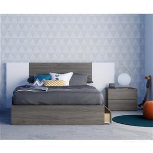 Ensemble de chambre à coucher 4 pièces Tokyo, gris écorce et blanc, lit double