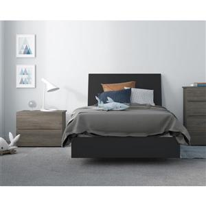 Ensemble de chambre à coucher 3 pièces Avatar, gris écorce et noir, lit simple