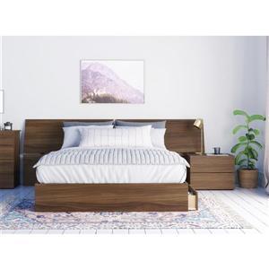 Ensemble de chambre à coucher 3 pièces Distance, noyer, grand lit