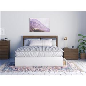 Ensemble de chambre à coucher 3 pièces Merlin, noyer et blanc, grand lit