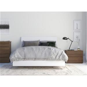 Ensemble de chambre à coucher 3 pièces Solstice, noyer et blanc, lit double