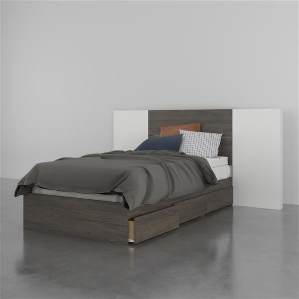 Ensemble de chambre à coucher 3 pièces Nexera, gris écorce et blanc, lit simple