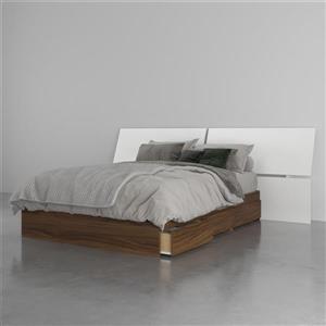 Ensemble de chambre à coucher 2 pièces Cologne, noyer et blanc, lit double