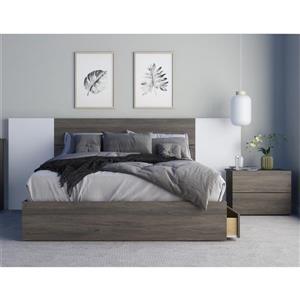 Ensemble de chambre à coucher 4 pièces Tokyo, gris écorce et blanc, grand lit
