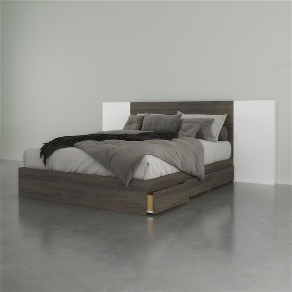Ensemble de chambre à coucher 3 pièces Nexera, gris écorce et blanc, grand lit