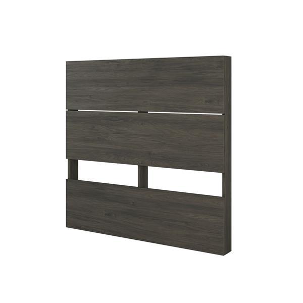 Ensemble de chambre à coucher 3 pièces Nexera, gris écorce et noir, lit simple