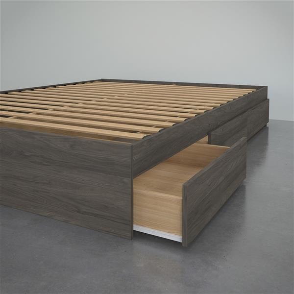 Nexera Storage Platform Bed - 3-Drawer - Bark Grey - Queen Size