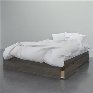 Lit Nexera à 3 tiroirs, gris écorce, grand lit