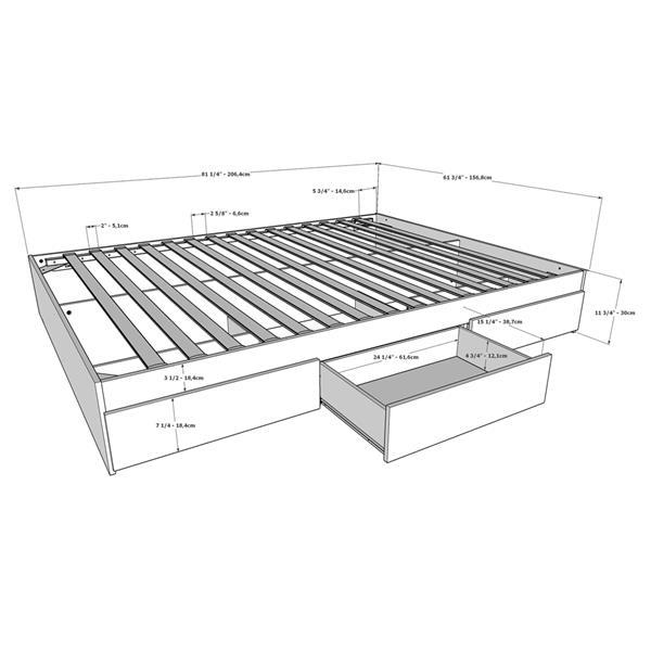 Nexera Chinook 3 Piece Bedroom Set -  Bark Grey and Black - Queen Size