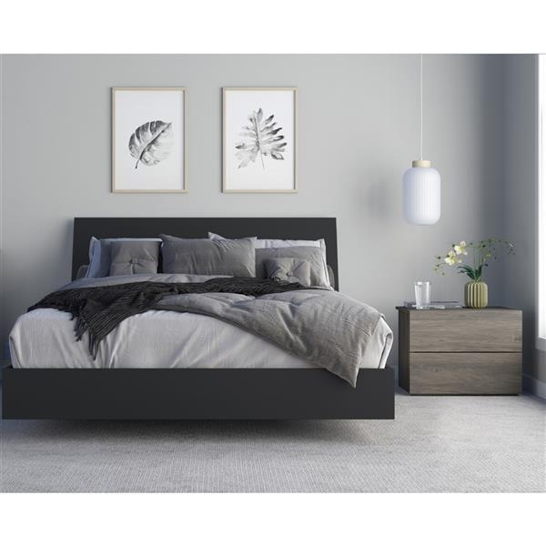 Nexera Avatar 3 Piece Bedroom Set -  Bark Grey and Black - Queen Size