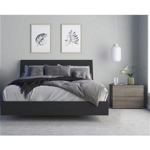 Ensemble de chambre à coucher 3 pièces Avatar, gris écorce et noir, grand lit